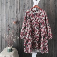 HH33民族风几何印花长袖棉麻连衣裙复古中长花袍子双层纱连衣裙