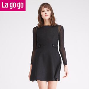 拉谷谷lagogo冬季新款女装修身黑色裙子长袖秋冬连衣裙
