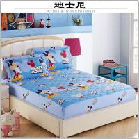棉夹棉加厚床笠单件全棉席梦思保护套床盖防滑床套单双人床 卡其色 迪士尼