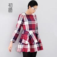 初语冬季新品  格子长袖双层蛋糕连衣裙女 8442412073