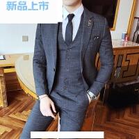 秋冬新品男士英伦竹节料修身西服套装男绅士熟男结婚礼服三件套