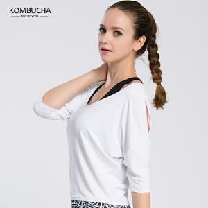【满100减50/满200减100】Kombucha瑜伽健身短袖T恤女士速干透气蝙蝠衫五分短袖T恤运动跑步健身上衣K0120