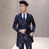 新品18春装男士潮流档提花面料中长款西服套装韩版修身青年三件套
