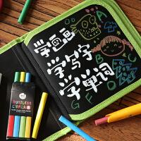 儿童无尘粉笔画包 黑板小画本涂鸦写字本套装便携小画板 可擦绘本