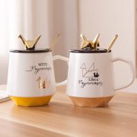 创意千纸鹤马克杯带盖勺小清新情侣杯喝水杯子茶杯陶瓷欧式咖啡杯