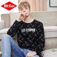 Lee Cooper男式秋季新款潮流时尚个性印花长袖T恤