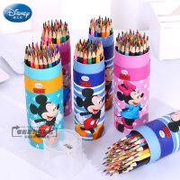 迪士尼彩色铅笔12色学生用桶装画笔36色彩铅笔无毒专业手绘幼儿童画画笔铅笔24色儿童彩色笔绘画套装文具用品
