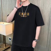 男士短袖T恤2021夏季新款韩版宽松时尚印花百搭上衣男