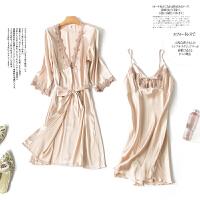 睡衣女夏秋季性感冰丝短袖两件套睡裙丝绸吊带套装大码薄款家居服 香槟色 主图款