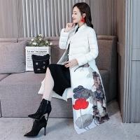 冬季中式棉袄复古印花中国风民族风中长款棉衣女过膝