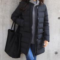 文艺冬季2018显瘦加厚保暖外套圆领白鸭绒中长款黑色轻薄羽绒服女 黑色