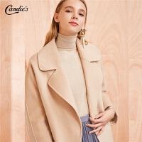【限时直降价:706】呢子大衣女冬季新款韩版宽松简约外衣西装领中长羊毛毛呢