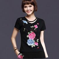 中国风女装上衣 夏装新款民族风绣花纯棉T恤女大码刺绣打底衫