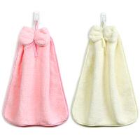 三利 2条装珊瑚绒蝴蝶结挂式擦手巾 加厚不掉毛强吸水 浴室厨房居家多用途抹手毛巾