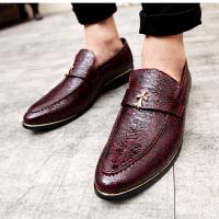 DAZED CONFUSED 潮牌秋季新款克罗心男休闲鞋酒红色尖头皮鞋亮面透气低帮鞋韩版套