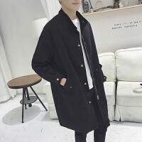 秋季新款男士休闲风衣中长款学生开学韩版抽绳学院风纯色外套