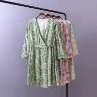 睡袍印花睡裙女夏秋季七分袖可爱 日式和风睡裙浴袍家居服T62