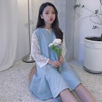 夏装新款韩版打底蕾丝衫+宽松中长款荷叶边背心裙连衣裙两件套女