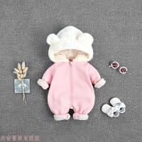 冬季婴儿冬装女8新生儿衣服加厚男宝宝保暖连体衣6月秋冬外出抱衣哈衣秋冬新款