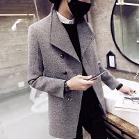 短款风衣男英伦韩版修身大翻领青年呢子外套男士冬天厚毛呢大衣潮