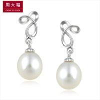 周大福 简约大方925银珍珠耳环定价AQ31828>>定价