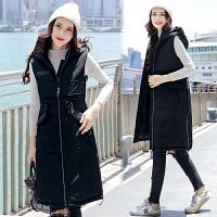 棉衣马甲女士冬季新款韩版女装修身中长款连帽马夹加厚外套