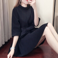 2018秋冬新款韩版时尚小个子毛呢连衣裙女冬季裙子修身加厚打底裙