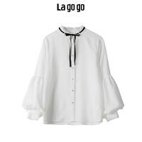【年终狂欢节两件两折/叠满200-10优惠券】Lagogo 2019秋季新款白色甜美长袖衬衫女休闲雪纺上衣HCCC43
