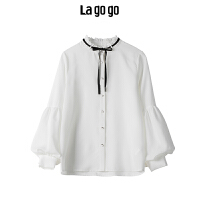 Lagogo 2019秋季新款白色甜美长袖衬衫女休闲雪纺上衣HCCC438A16
