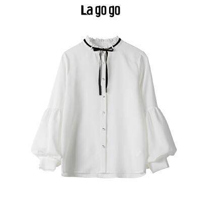 【秒杀价107】Lagogo 2019秋季新款白色甜美长袖衬衫女休闲雪纺上衣HCCC438A16