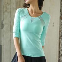 瑜伽服长袖女春上衣健身服 网纱拼接弹力修身T恤七分袖