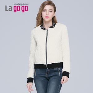 lagogo新款立领拼接棉服夹克女棒球棉服女冬韩版棉衣长袖外套潮