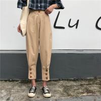 韩版时尚休闲套装夏季女装格子短袖衬衫+高腰哈伦裤九分裤两件套