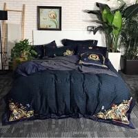 秋冬款 欧式80支磨毛绣花长绒棉四件套深蓝色棉床上用品 权御天下