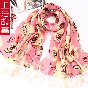 上海故事纯羊毛女款春秋保暖围巾披肩夏季空调披肩