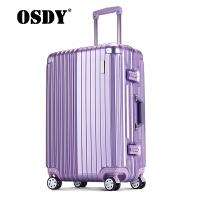 【支持礼品卡支付】OSDY新款拉杆箱 24寸托运箱 行李箱 静音万向轮 加厚金属拉杆高端铝框金属包角  海关锁 耐压ABS+PC材质