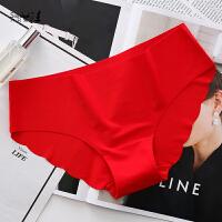 无痕一片式低腰性感纯棉档三角内裤女士蕾丝中腰本命年大红