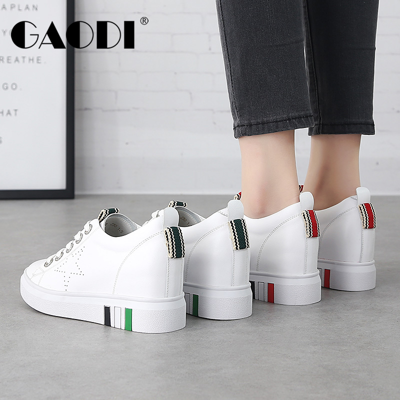 高蒂女鞋平底休闲鞋2018春季新款厚底真皮小白鞋系带韩版内增高鞋