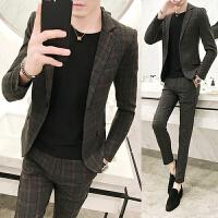西服套装男士青年韩版帅气休闲格子西装外套修身西裤两件套格子裤