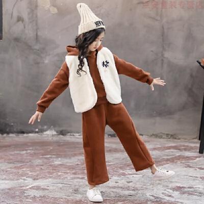 女童冬装2019新款套装洋气冬季童装时髦儿童加绒卫衣三件套秋冬潮