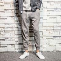 夏季亚麻裤男修身小脚日系复古青年潮流哈伦裤大码透气薄款休闲裤