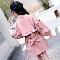 2019 女童秋装新款公主风衣韩版泡泡袖珍珠加长版风衣腰带收腰风衣