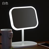 LED化妆镜带灯大号折叠便携梳妆镜子台式桌面台灯学生宿舍公主镜 LED化妆镜X9【白色】 +数据线+电池