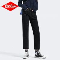 Lee Cooper新款韩版直筒牛仔裤女宽松中高腰复古港味阔腿裤牛仔裤女