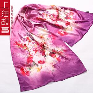 上海故事春季韩版女士围巾丝巾长围巾披肩两用真丝丝巾桑蚕丝