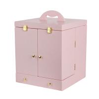 家用少女心口红桌面化妆品收纳箱有盖抽屉梳妆台护肤品收纳盒带镜送女友送朋友礼物