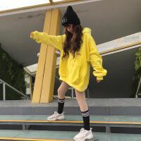 卫衣女秋冬新款加绒加厚韩版宽松黄色丝绒贴布原宿风连帽外套