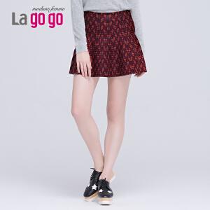 lagogo拉谷谷秋冬季新款印花高腰舒适针织半裙半身裙