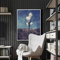 十字绣小幅画简单清新客厅卧室三朵白云满绣现代简约书房挂画