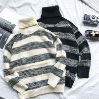 冬季高领毛衣男学生情侣韩版加厚修身黑白条纹潮流打底线衣针织衫